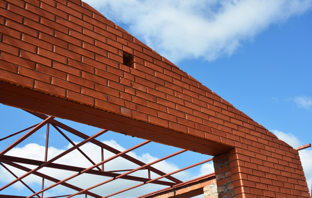 steel roof trusses details with clouds sky background steel roof trusses sitting on concrete pole