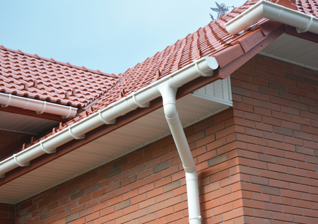 Close up view on House Problem Areas for Rain Gutter Waterproofing. Guttering, Gutters, Plastic Guttering, Guttering & Drainage. Guttering Down pipe Fittings