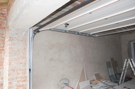 Garage Door Opener System Garage Door Installation Stock Photo