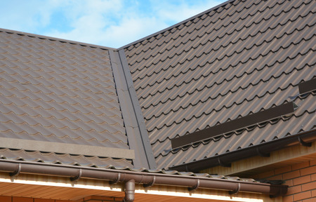 Problem Areas for Rain Gutter Waterproofing. Guttering, Gutters, Plastic Guttering. Guttering Down pipe Fittings. Rain gutter system and roof protection from snow on house metal roof.
