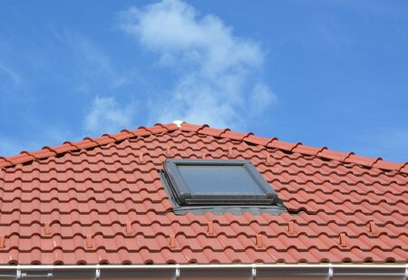 Dirty Skylight. Attic House Skylight Care and Cleaning. How to Clean Skylights and Conservatories. Stock Photo