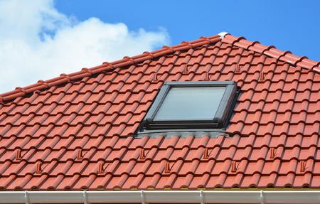 Skylight On Red Ceramic Roof Tiles House Roof. Modern Roof Skylight. Attic  Skylights Home