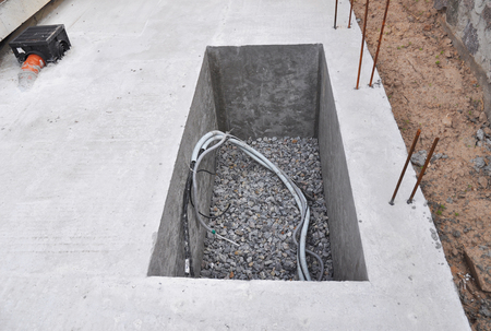 Manhole Water Borehole under Construction from Concrete for Water Supply System Hydraulic Accumulator Water Pump Sewer and other House Equipment