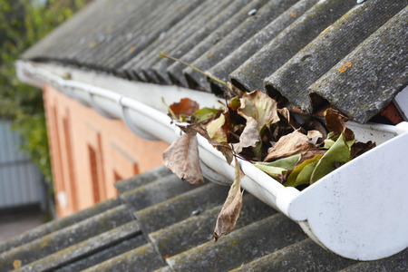 Rain Gutters Cleaning from Leaves. Guttering works.
