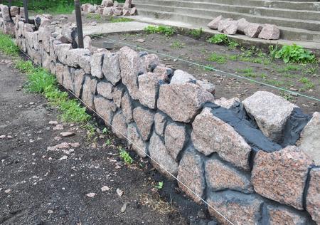 Building Granite Stone Fence With Design Decorative Cracked Stone ...
