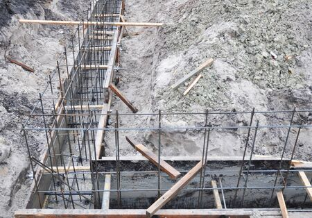 Building A Foundation Construction For A New House. Types Of Foundations.  Pouring A Concrete