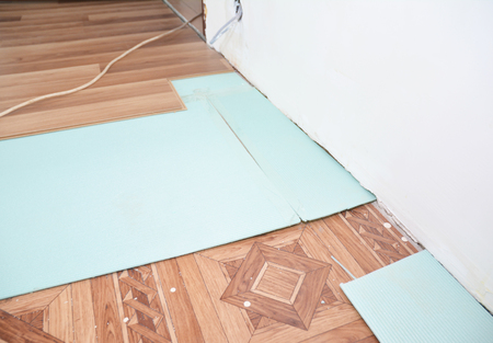 Close Up On Soundproofing And Insulation Laminate Floor Installation