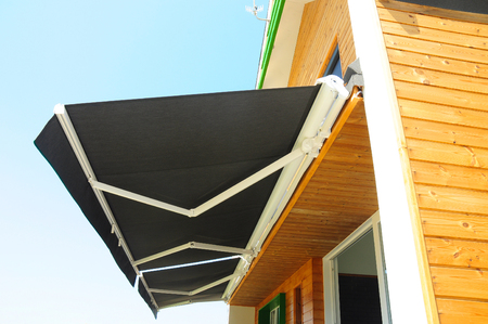 Sun Shade Curtains - Sun Protection. Sheer Curtains, Solar Shades Are Popular Window.  Shades, Blinds, Curtains for Energy Efficiency. Protection Against Sun and Heat. Stock Photo