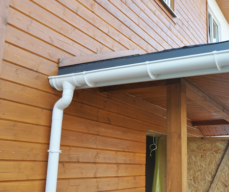 Problem Areas for Rain Gutter Waterproofing. Guttering, Gutters, Plastic Guttering, Guttering & Drainage. Guttering Downpipe Fittings. Stock Photo - 91606151