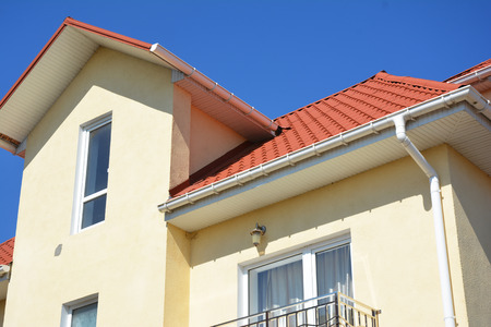 Roof Problem Areas for Rain Gutter Waterproofing Outdoor. Home Guttering, roof gutters, plastic guttering system. Guttering & Drainage Pipe Exterior.