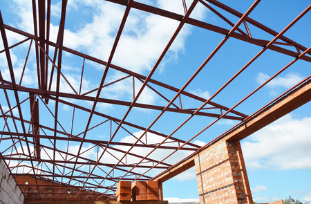steel roof trusses metal roof frame construction with steel roof trusses details stock photo - Metal Roof Trusses