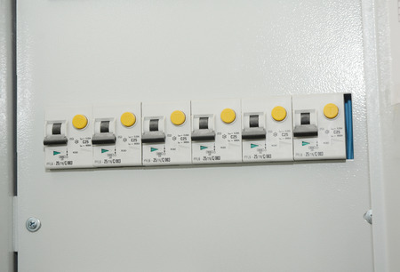 Close up on two-pole, or double-pole, residual-current device. A residual-current device (RCD), or residual-current circuit breaker (RCCB).
