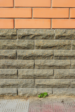 Brick house foundation wall crack Stock Photo - 119357182