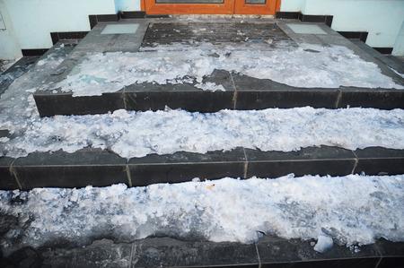 Danger house frozen steps. Ice covered entrance home slippery stair case.