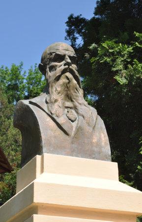 CHERNIVTSI, UKRAINE - February 13, 2019: Josef Hlavka memorial in Chernivtsi.  Josef Hlávka (15 February 1831 – 11 March 1908) was a Czech architect, builder, philanthropist.