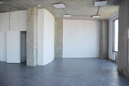 Interior room under construction and home remodelong. House Wall with loft design interior.