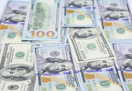Cash flow concept. American Dollars Cash Money. One Hundred Dollar Banknotes. Currencies USD Concept Stock Photo