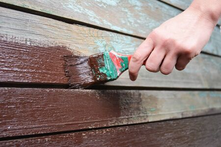 Painting old wooden wall surface with paint brush
