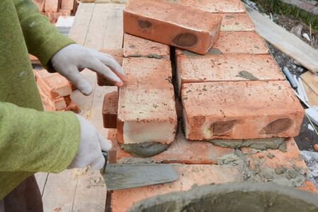 Bricklaying, Brickwork. Bricklaying Photo. Stock Photo - 126963817