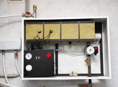Open Electric Boiler Board Repair, Install. Electric Wet Central Heating System, Electric Water Heating, Boiler. Stock Photo