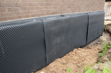Damp proofing. Basement,foundation insulation details with waterproofing, Damp Proof Membranes.