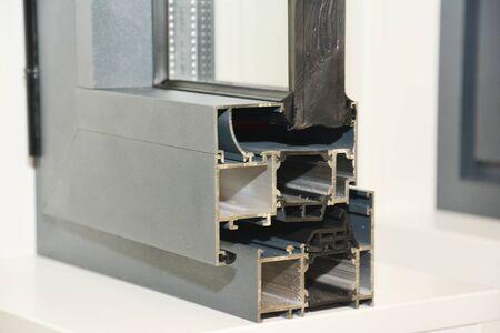 Aluminium Window Frame Profile. Energy Efficient Windows Cross Section. Two Transparent Glass. Reklamní fotografie
