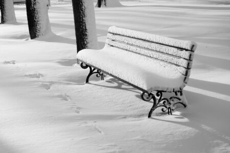 Park wooden bench after snowstorm in morning sun lights. East Coast is frozen over in a bomb cyclone. Stockfoto