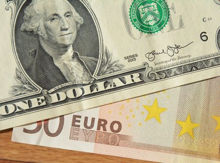 Close up on Euro dollar rate concept. Eur usd forecast photo. Eur usd exchange rate concept.