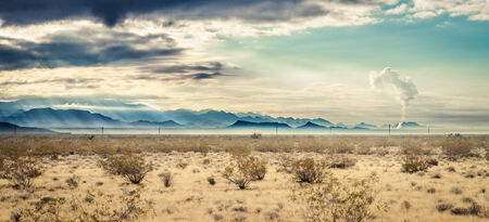 Desert landscape in fall with mountains in the background