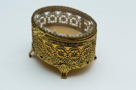 Vintage Jewelry Box Gold Filigree Beveled Glass Romantic Flowers Retro 1960s