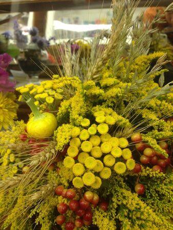 arrangment: A fall-themed cornucopia arrangment