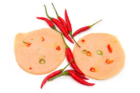 porc: Spicy chicken bologna and red chilli on white background
