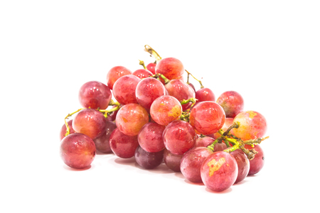 Red grape with water drops, closeup, isolated on white  photo