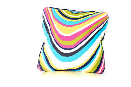 Colourful pillow on white background photo