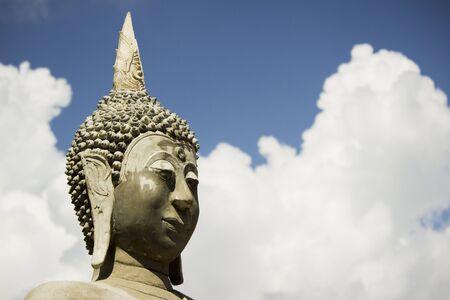 head stones: Buddha head Stock Photo