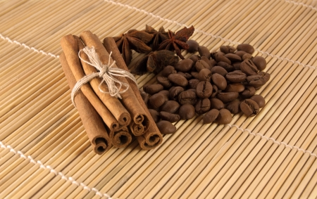 cinammon: Spices and coffee Stock Photo