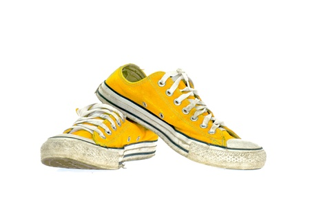 vintage yellow shoe on White  background