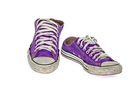 vintage violet shoe on White  background photo
