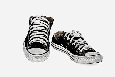 vintage black shoe on White  background photo
