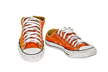 vintage orange shoe on White  background photo