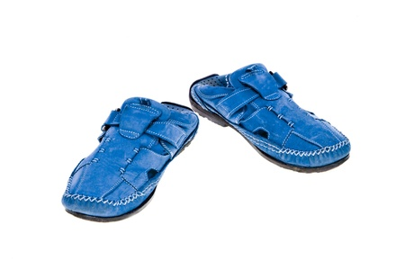 blue leather shoes isolated on white  background photo