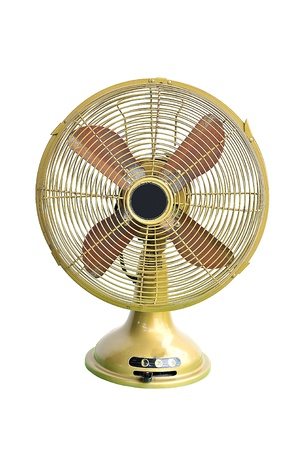 vintage yellow electric fan on white background photo