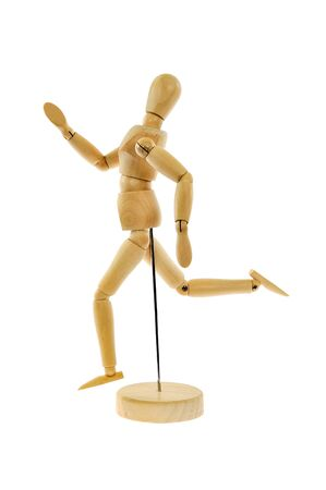 Wooden figure running isolated on white background Stock Photo - 15397381