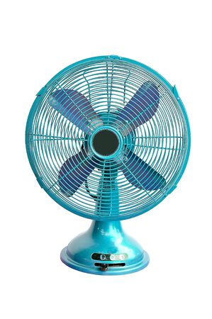 vintage blue electric fan on white background photo