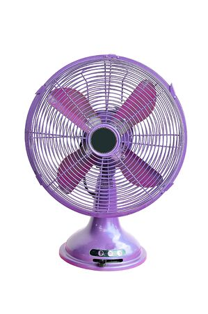 vintage violet electric fan on white background photo