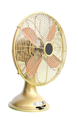vintage green electric fan on white background photo