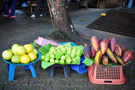 Open air fruit market in the village photo