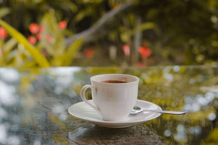 white coffee cup on table Stock Photo - 16293377