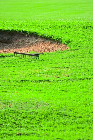 par: Sand bunker on the golf course with green grass