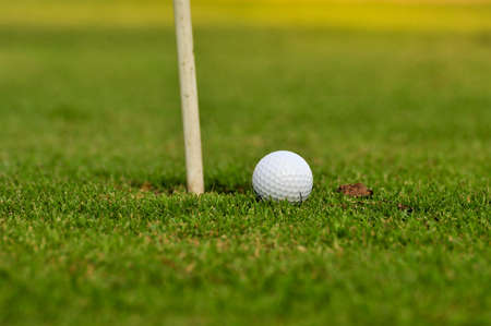 Golf ball and golf hole on the green grass Stock Photo - 16463451